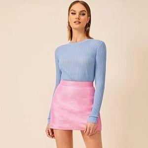 Metallic pink mini skirt